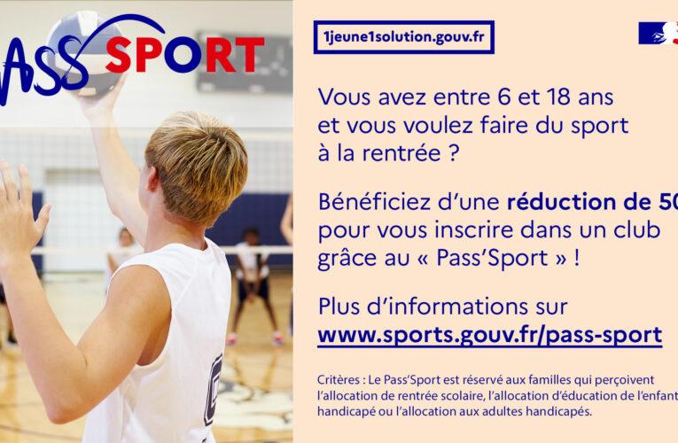 Notre club adhère au dispositif Pass'Sport